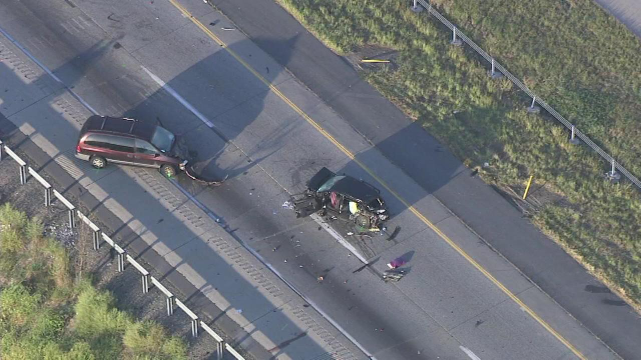 Video from Chopper 6 HD after sunrise showed a minivan with front-end damage and a heavily damaged SUV.  A sedan with front-end damage was seen a short distance away.