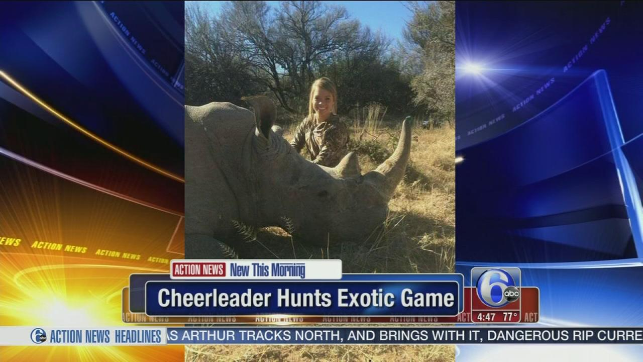 VIDEO: Cheerleader hunts exotic game