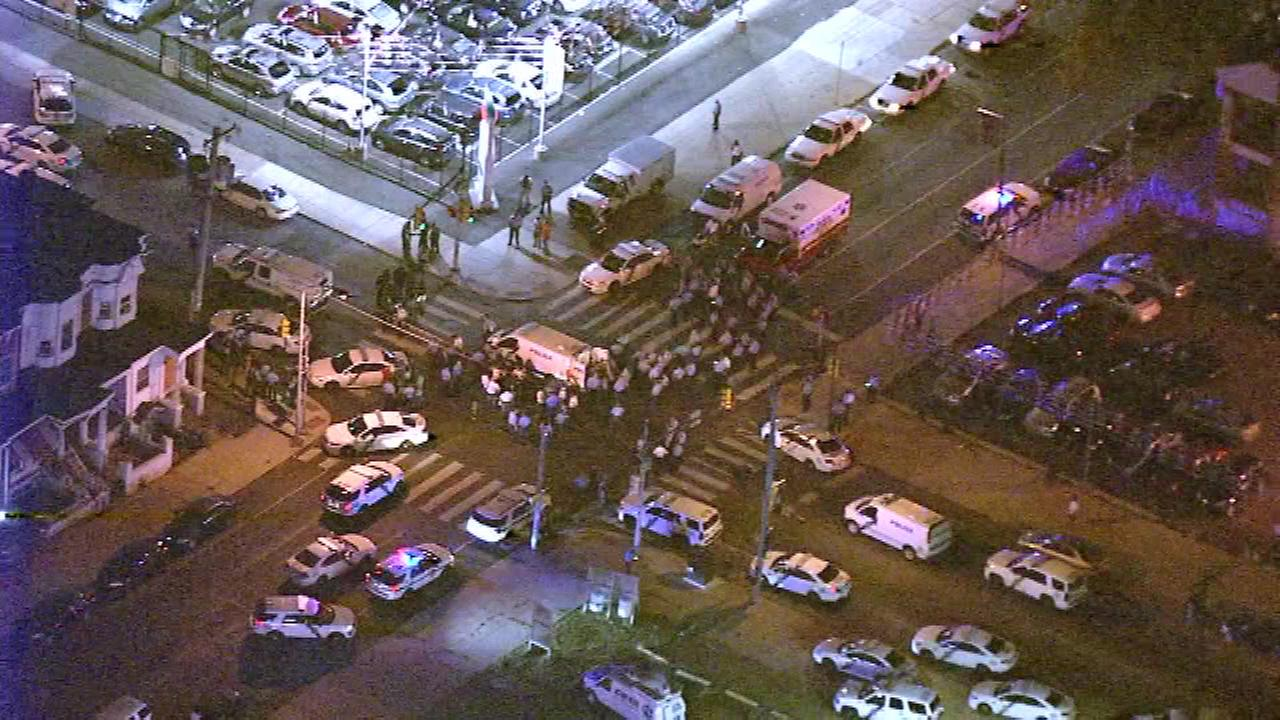 Two police officers were shot in West Philadelphia.