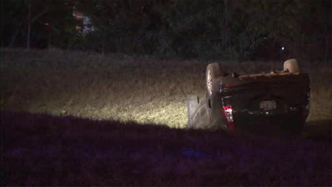 Multiple people were injured in a crash involving an overturned vehicle on Interstate 95 near the Philadelphia International Airport.