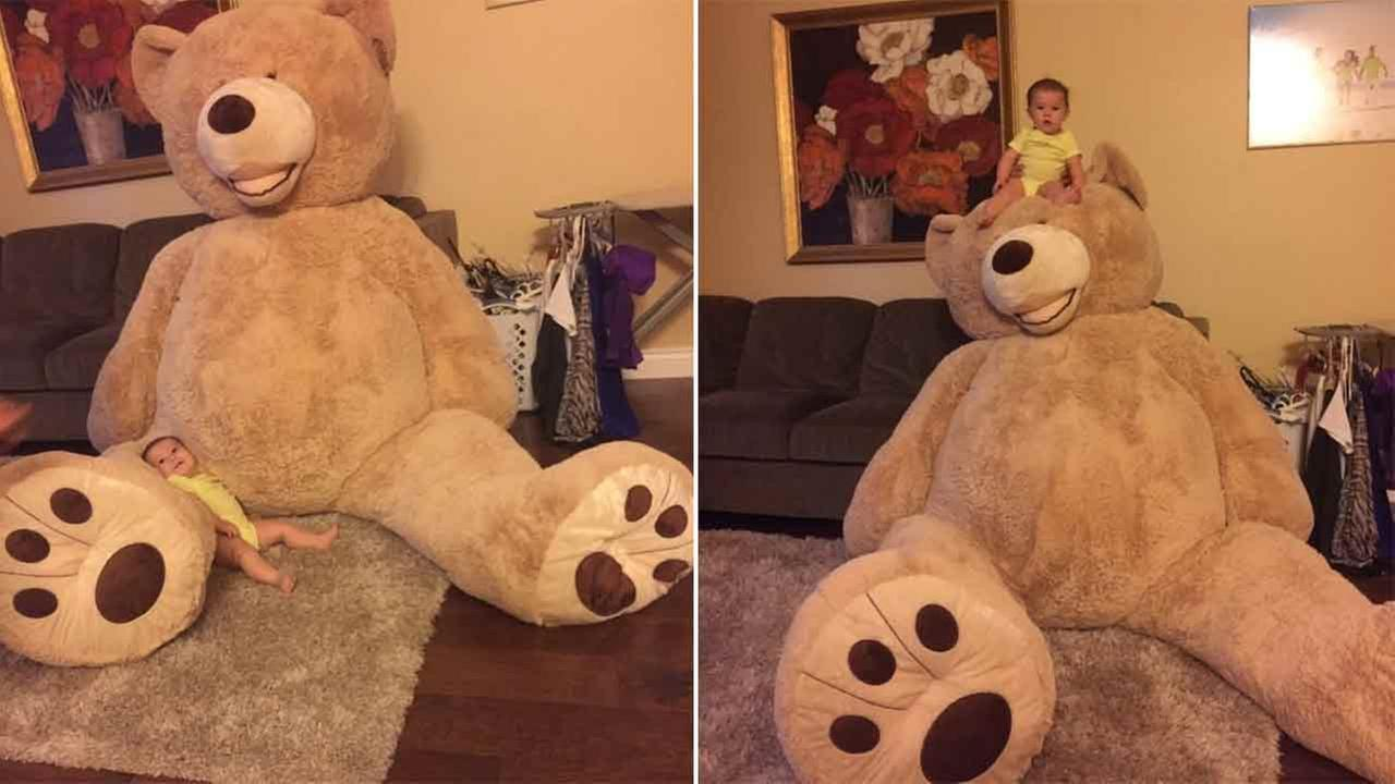 Grandpa buys giant teddy bear for baby granddaughter