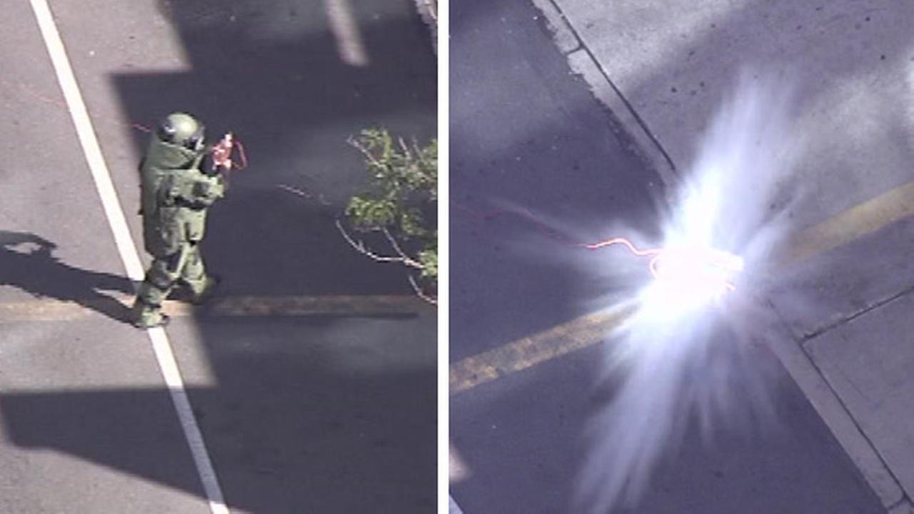 Chopper 6 was overhead as a member of a bomb squad detonated the pipe.