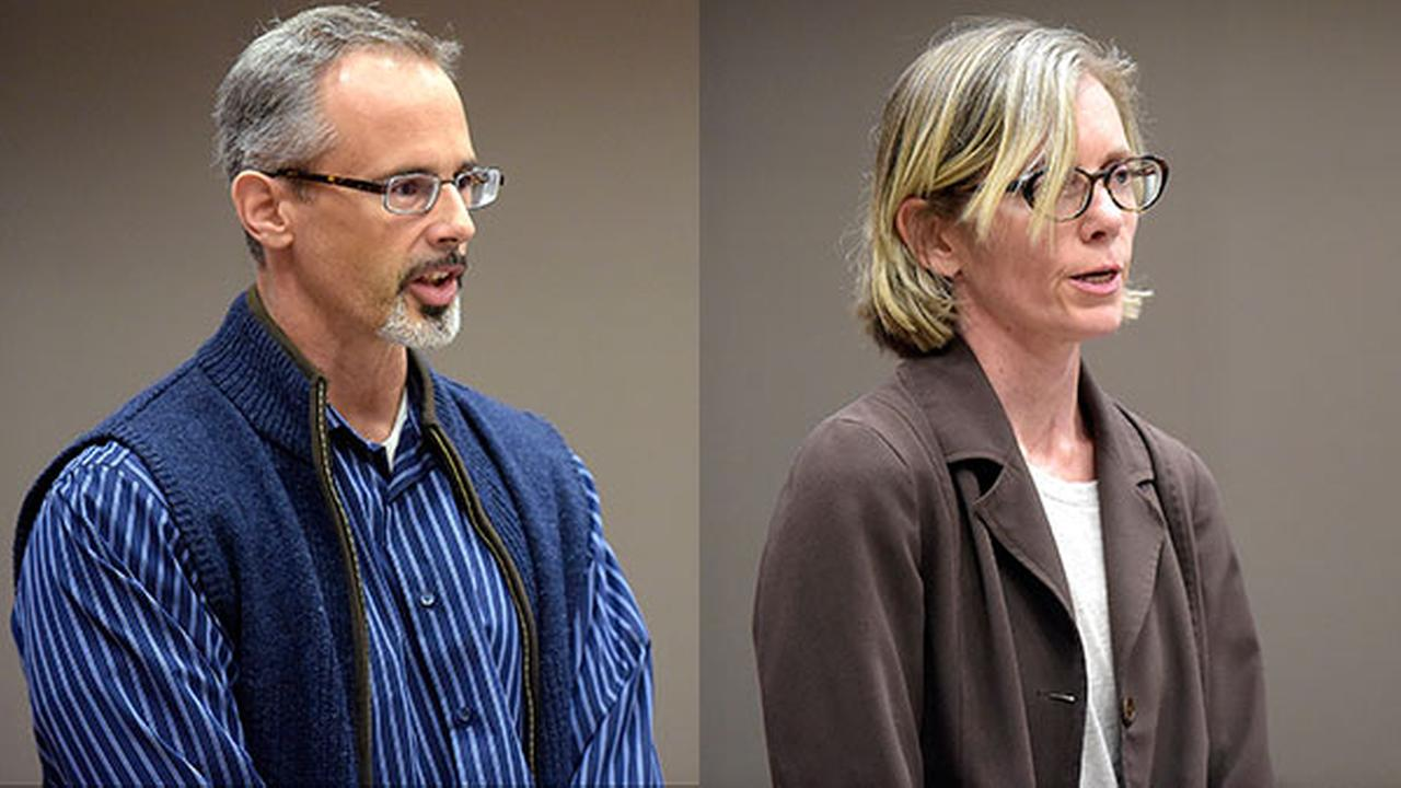 Michael Thalmann, 44, and Jennifer Thalmann, 48, of Audubon, Penn., and formerly of Newington, Conn., stand during their arraignment in New Britain Superior Court, Monday, Sept. 26