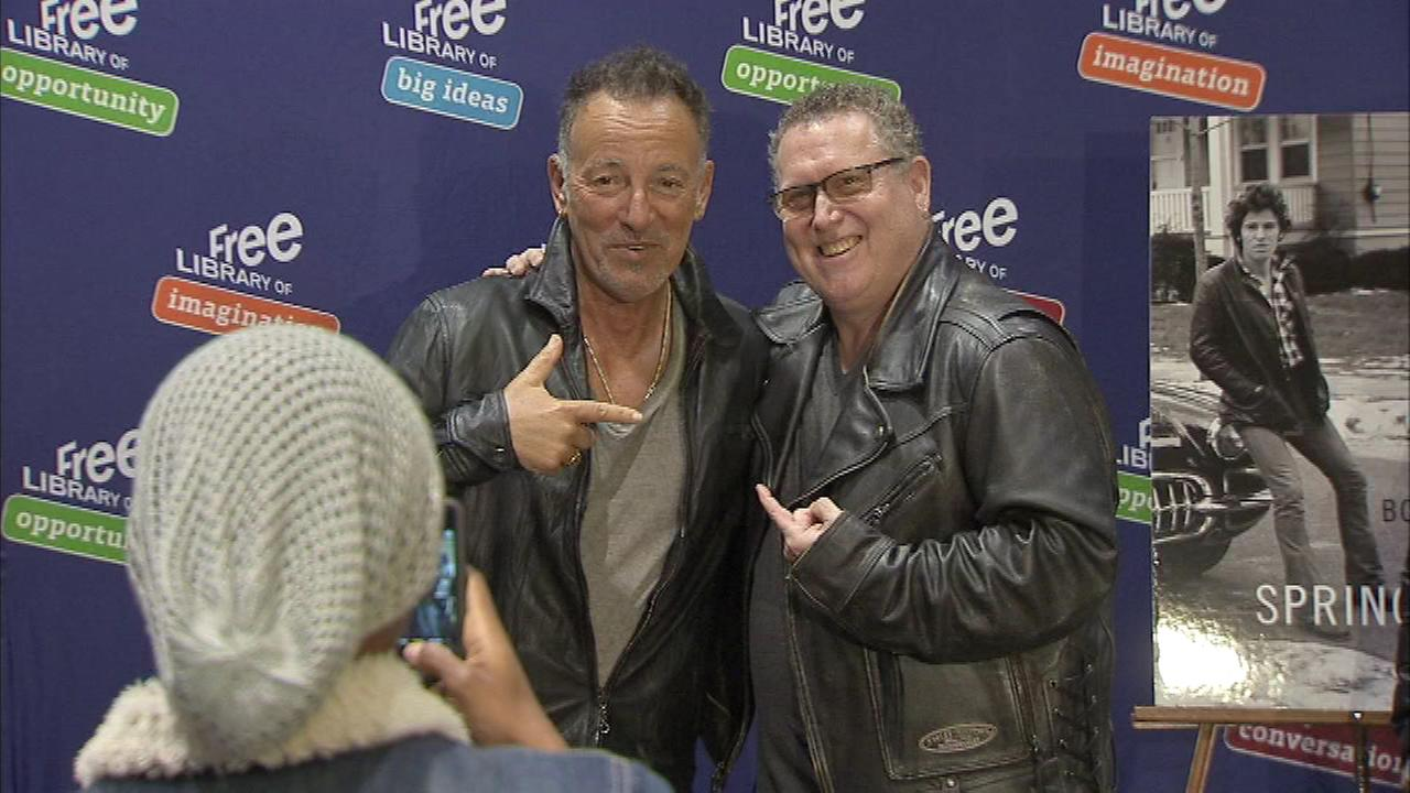 Bruce Springsteen greets his fans as he stops in Philadelphia on his Born to Run book tour.