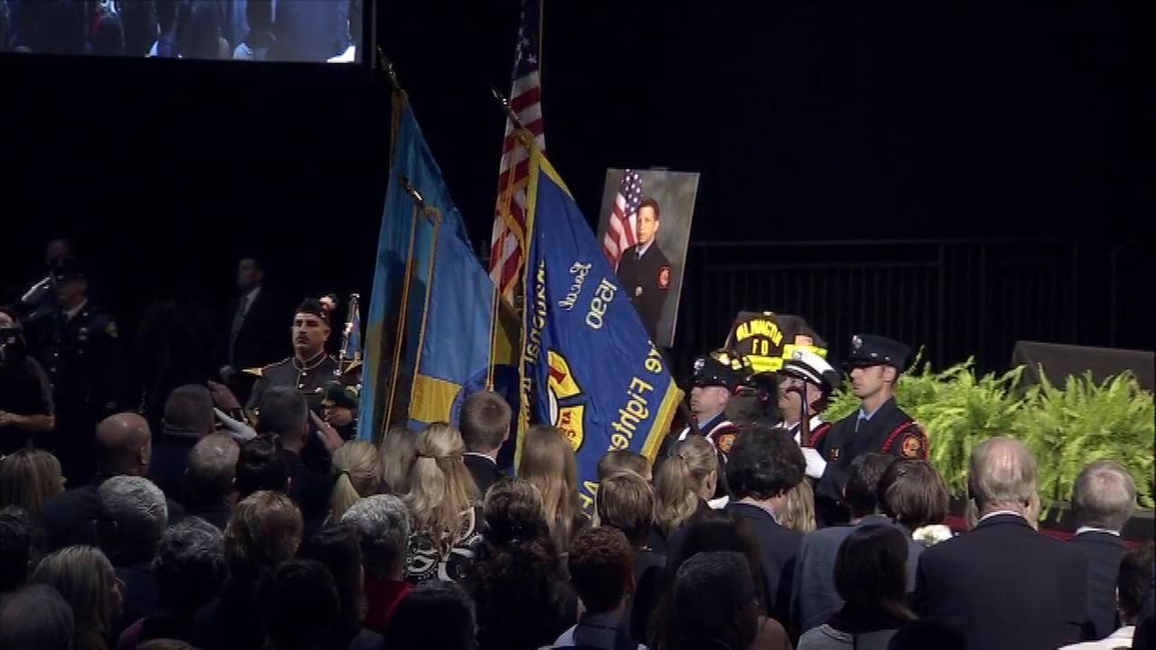 Two Wilmington firefighters killed in the line of duty, Capt. Christopher Leach and Lt. Jerry Fickes, were honored in a memorial service on Oct. 1.