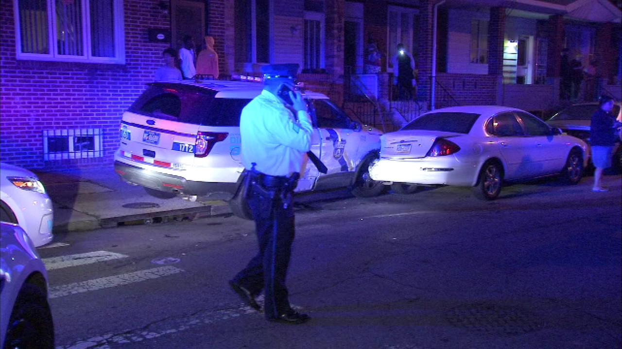 Philadelphia police are investigating a crash involving two police vehicles in Grays Ferry.