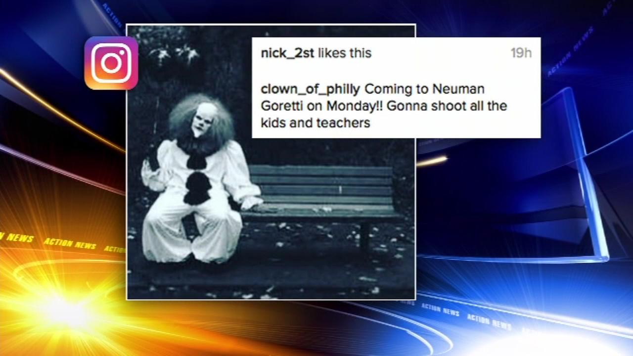 October 3, 2016: Concern about several clown-themed social media threats targeting schools in Philadelphia is prompting action by school officials and police.