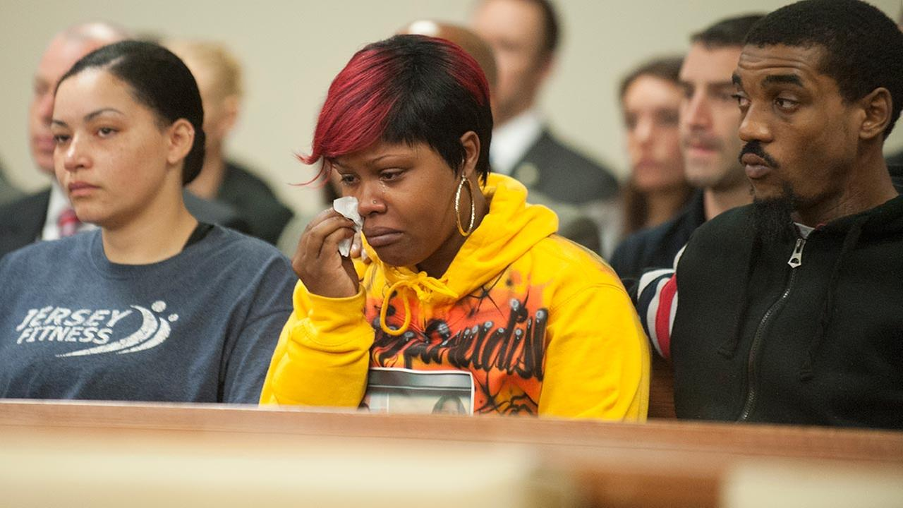 Pictured: The family of Gabrielle Carter watches the arraignment of Tyhan Brown.  (Courtesy: COURIER-POST)