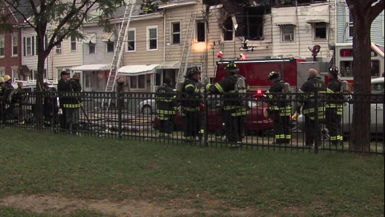 Fire crews battled a stubborn blaze that left five homes damaged in Trenton, New Jersey.