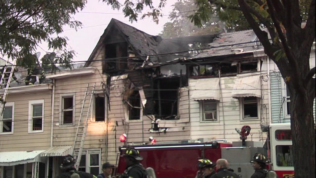 Fire crews battled a stubborn blaze that left five homes damaged in Trenton, New Jersey.