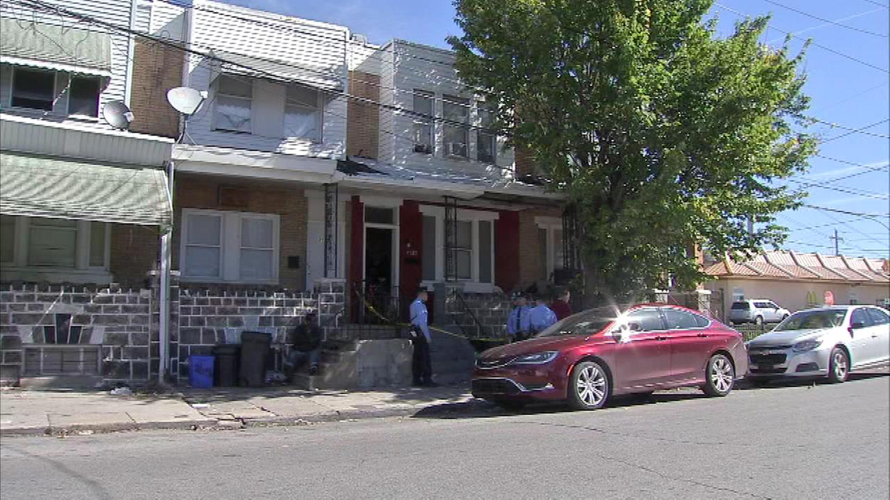 Pictured: The scene of the stabbing in Southwest Philadelphia.