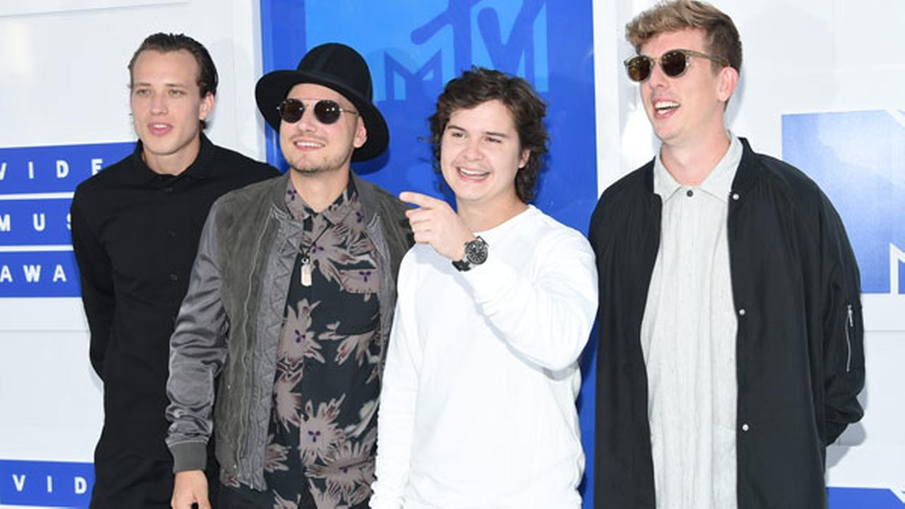 Mark Falgren, from left, Magnus Larsson, Lukas Forchhammer, and Morten Ristrop of Lukas Graham arrives at the MTV Video Music Awards at Madison Square Garden.Photo by Evan Agostini/Invision/AP