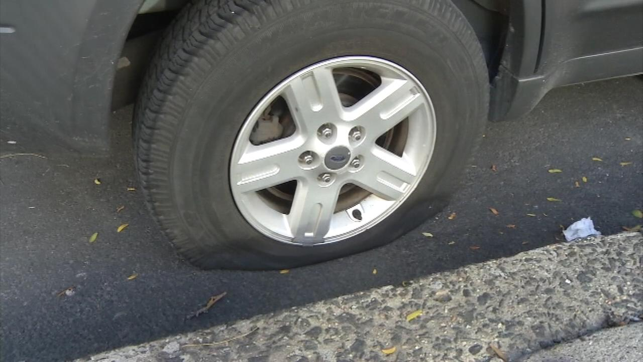 More than a dozen vehicles were hit by a tire slasher near Philadelphia City Hall.