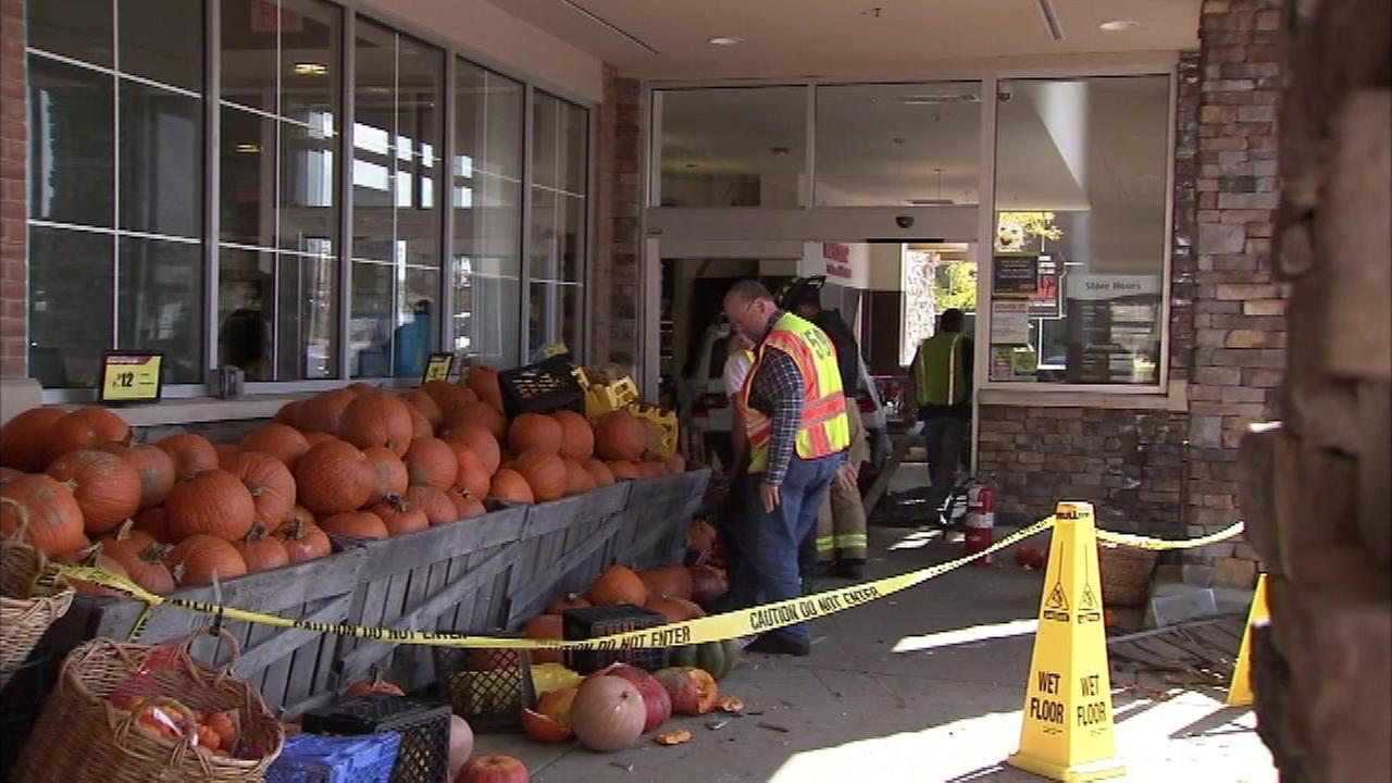 Pictured: An SUV slammed into an Acme store in Delaware County on Monday, October 17.
