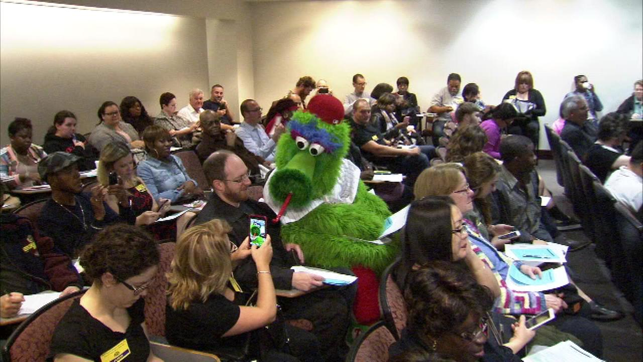 The Phillie Phanatic reported to jury duty in honor of Jury Appreciation Day at the Philadelphia Courts.
