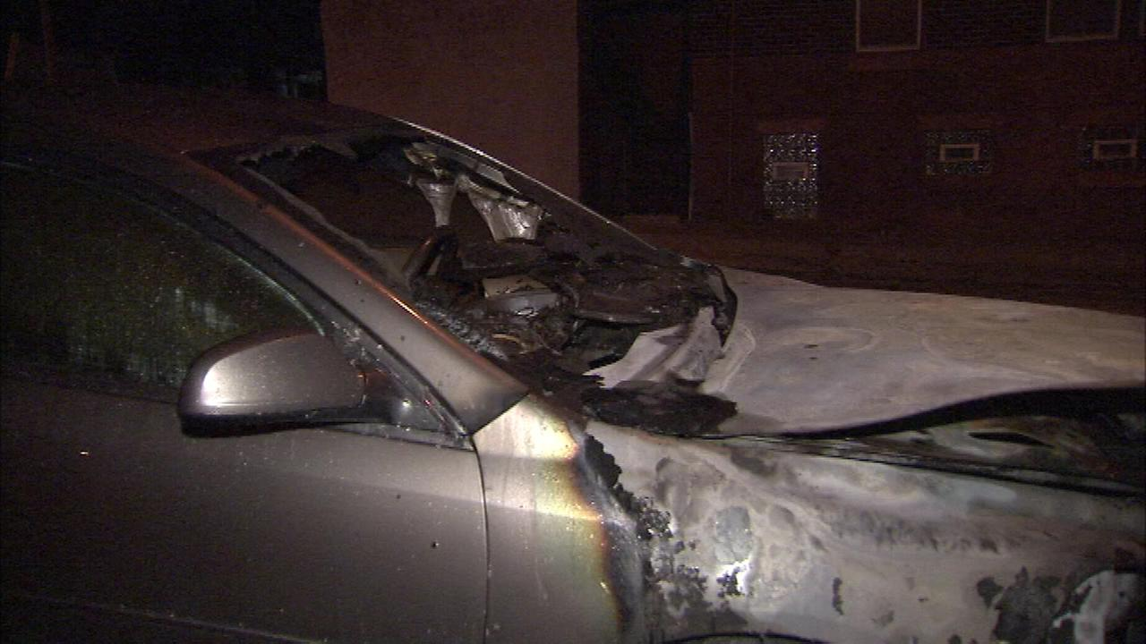 Police say an arsonist torched seven cars and a dumpster within a five a half hour period.