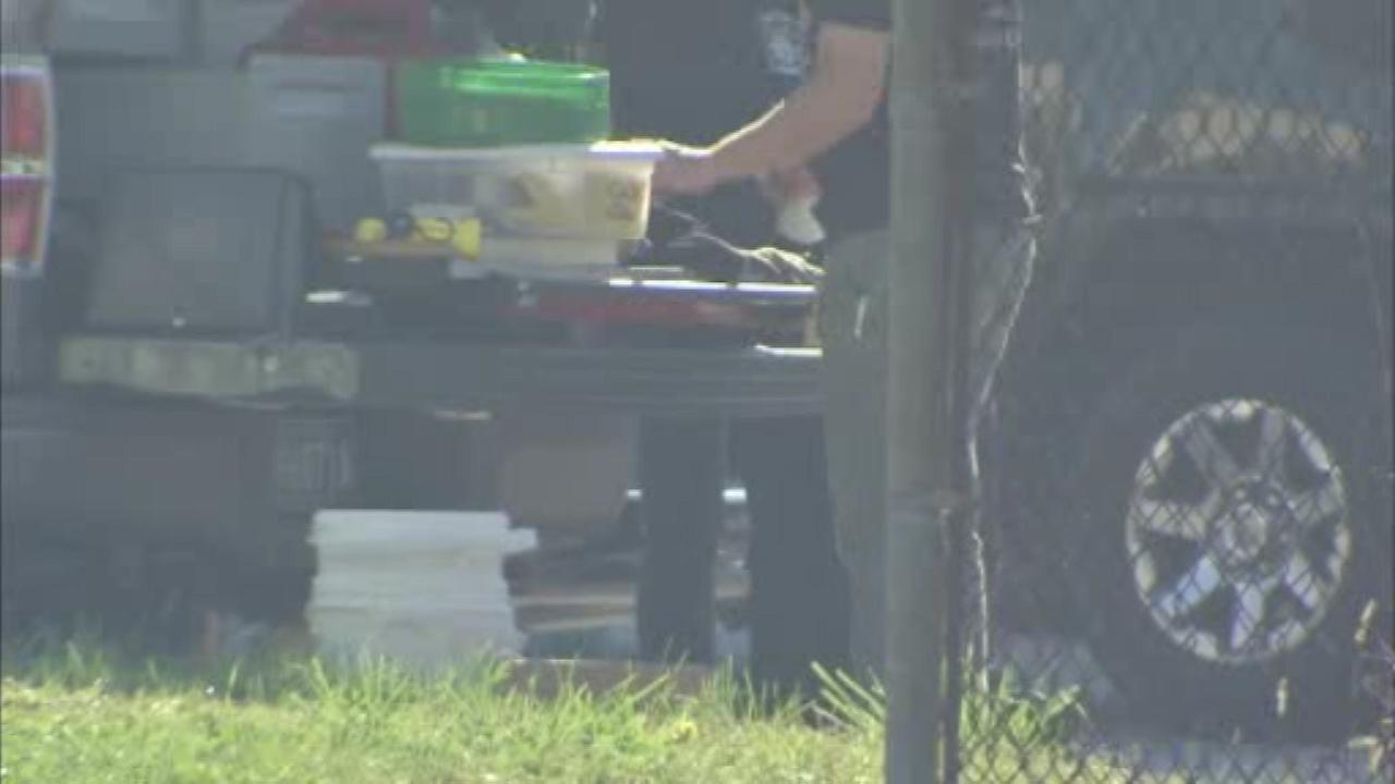 Pictured: Police bust a suspected meth lab in Collingdale, Delaware County on Tuesday, October 18.