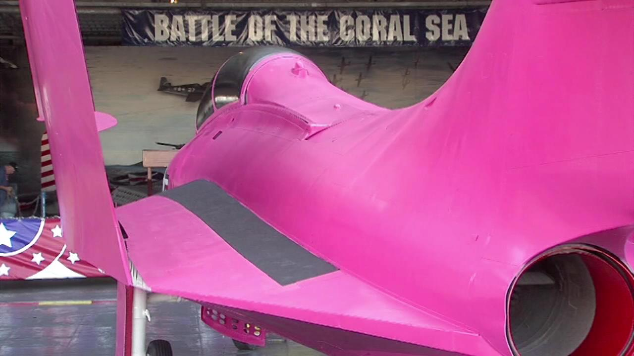 A retired Navy fighter jet was just painted pink in honor of Breast Cancer Awareness Month.