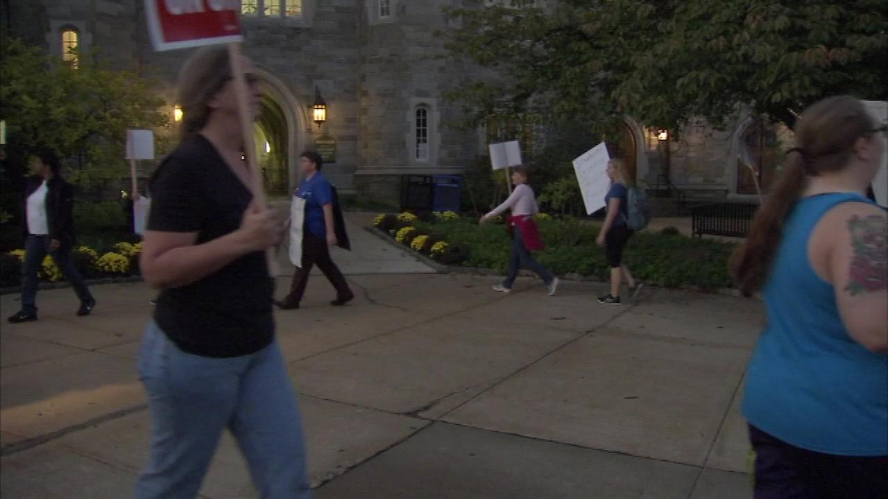 October 19, 2016: Striking faculty members set up picket lines at 14 Pennsylvania state universities including West Chester University in West Chester, Pa.