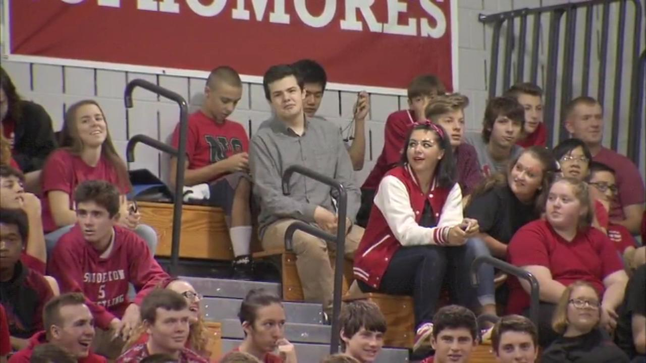 At Souderton High School, students, faculty and staff rallied in the gymnasium as teacher Richard Curtis co-hosted Live! With Kelly on 6abc.