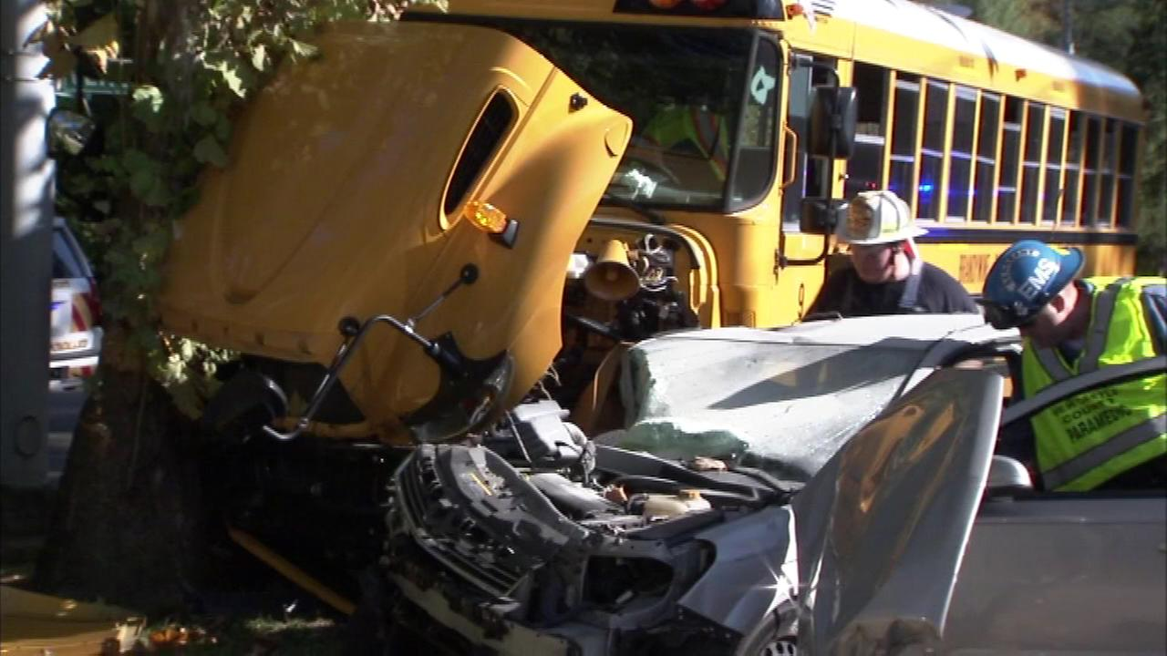 A school bus and another vehicle were involved in a crash in Wilmington, Delaware.