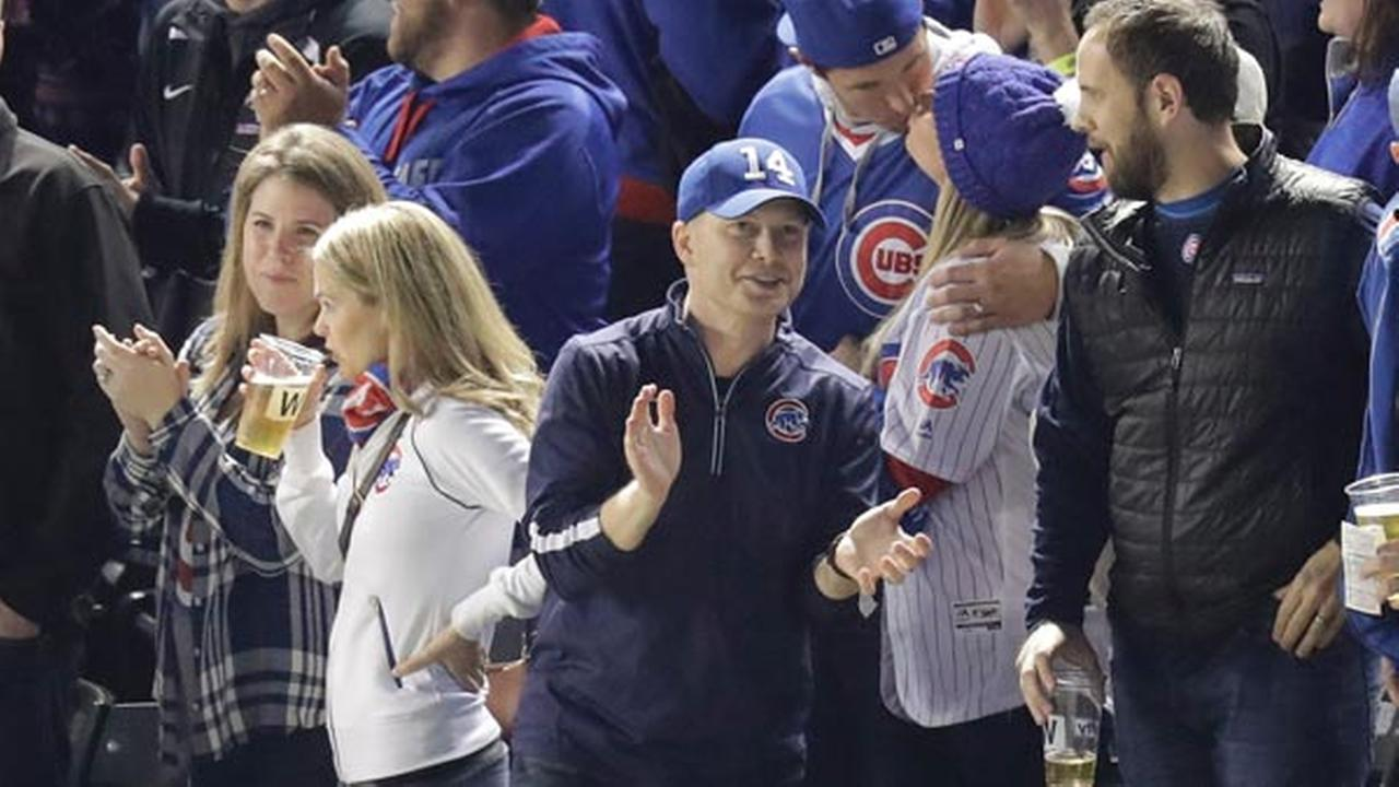 A Chicago-area man sits in the same seat that Steve Bartman had for Game 6 of the NL Championship Series on Saturday, Oct. 22, 2016, in Chicago.