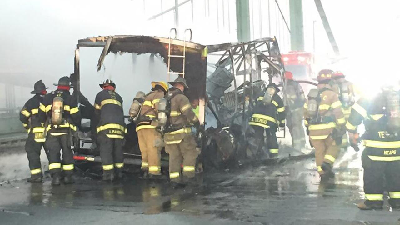 A RV caught fire on the Delaware Memorial Bridge.