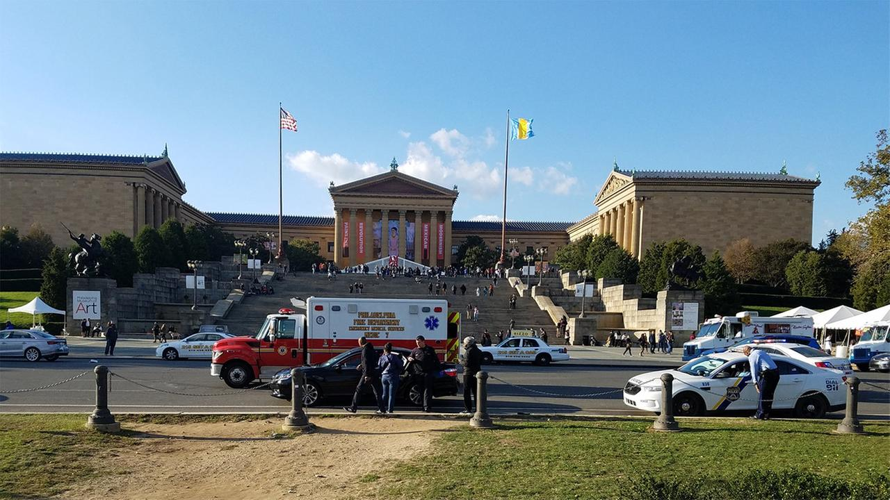 One person was struck by a car in front of the Philadelphia Museum of Art.