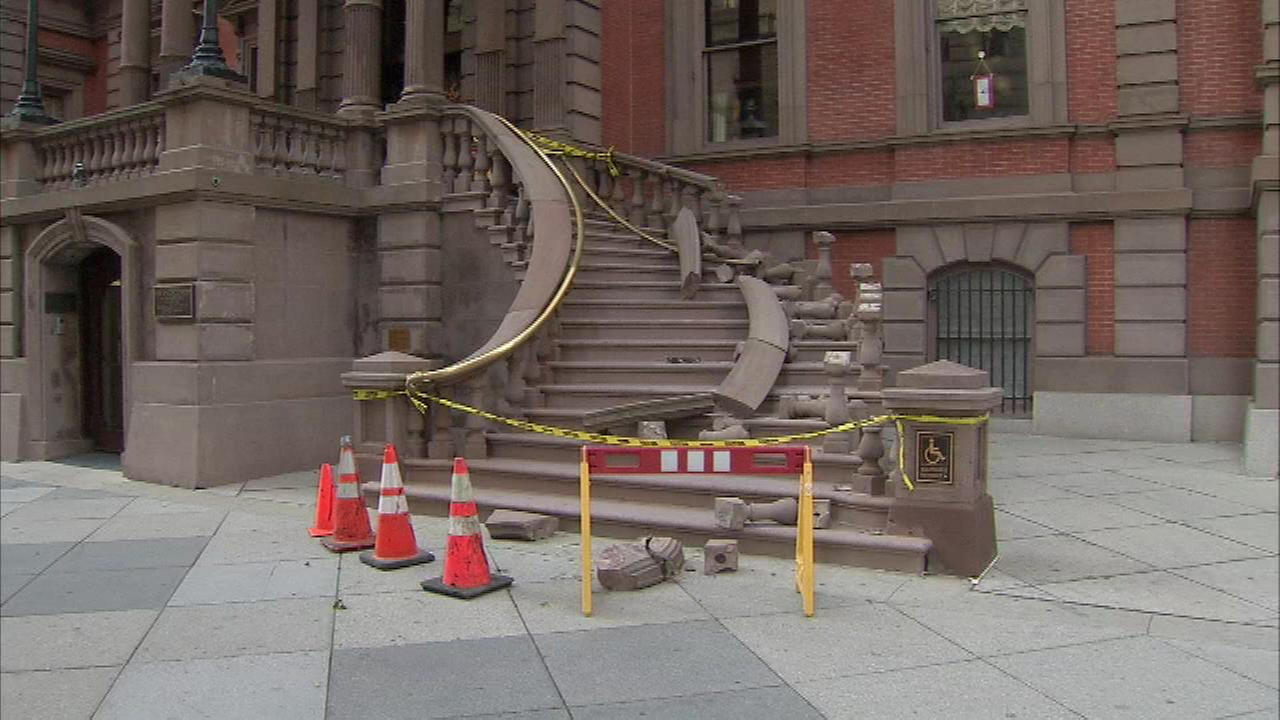 Pictured: The damaged staircase of the Union League in Center City on Monday, October 24.