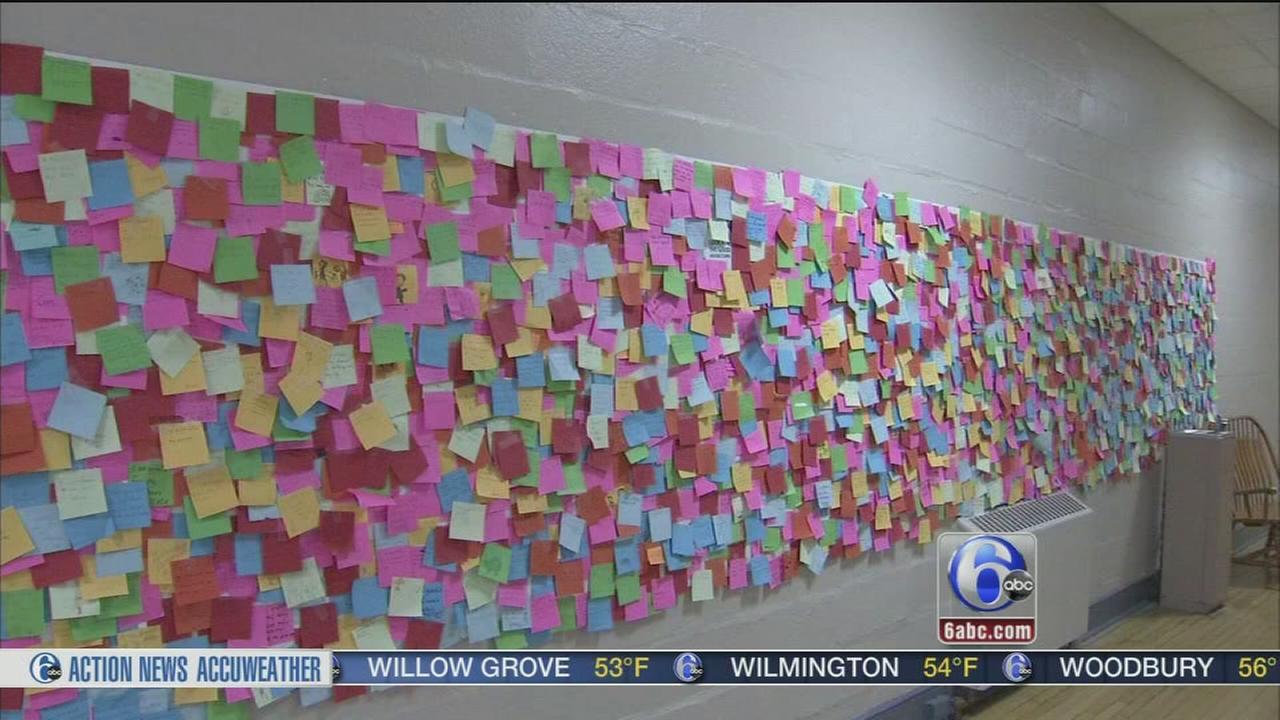 Gratitude wall at Gwynedd Mercy Academy
