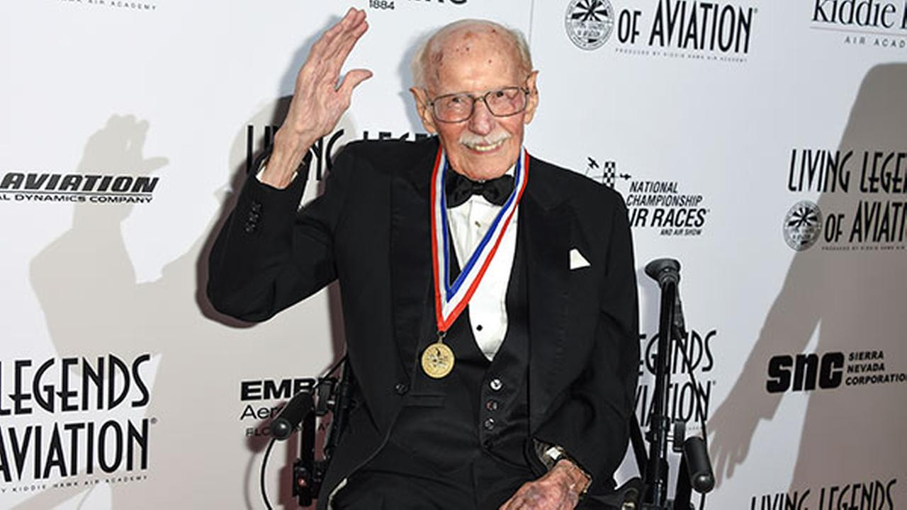 FILE - In this Jan. 16, 2015, file photo, Bob Hoover attends the 12th annual Living Legends of Aviation Awards at The Beverly Hilton Hotel in Beverly Hills, Calif.