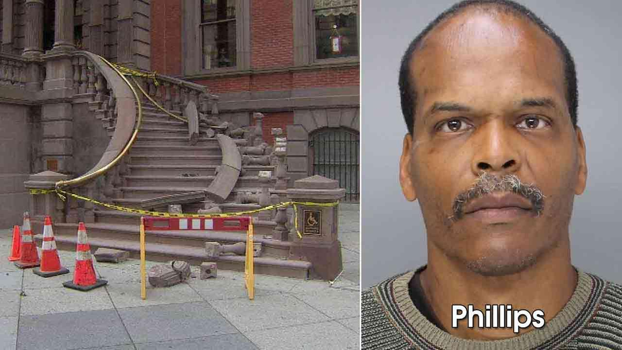 Reginald Phillips has been identified as the suspect in the theft of a brass railing from the entry staircase of the Union League.