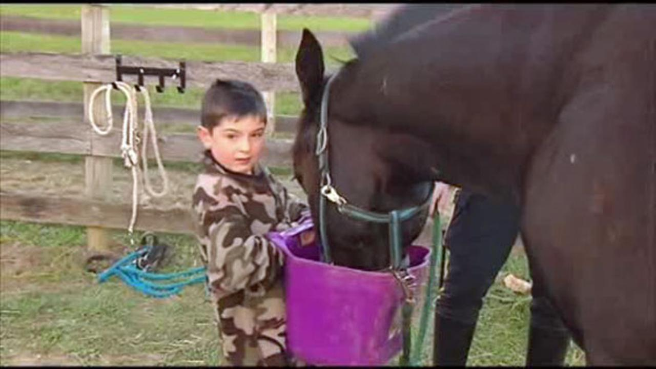An 8-year-old Pennsylvania boy who was once helped by riding therapy horses has donated his birthday money - all $356.36 of it - to benefit mounted police where he lives.