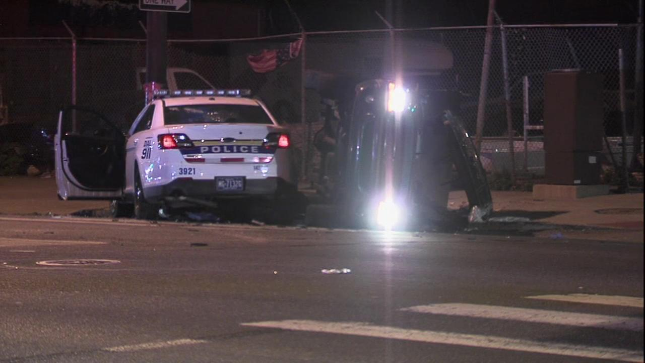 PICTURES: Officer injured after cruiser collides with truck in Hunting Park