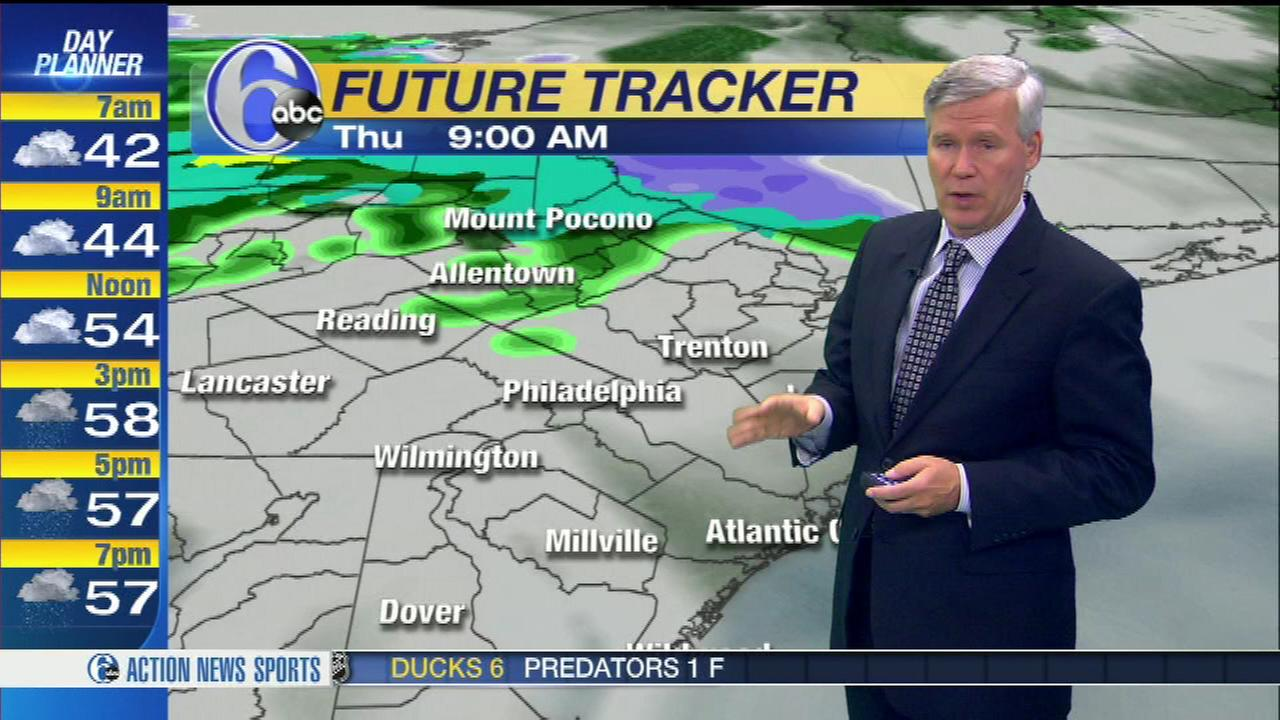 Meteorologist David Murphy says to expect cloudy skies Thursday, with a few morning showers around with steadier, more widespread rain arriving in the afternoon.