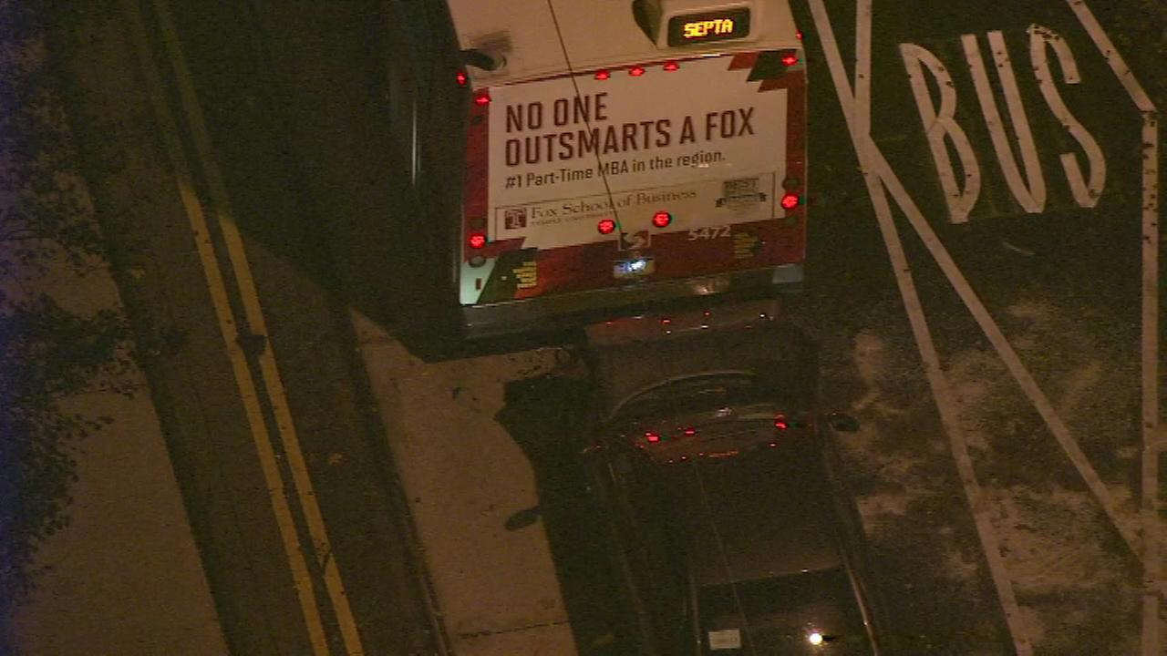 Police tell Action News the Route 10 trolley shuttle, a bus providing shuttle service while a trolley line is under repair, was picking up passengers when the collision happened.