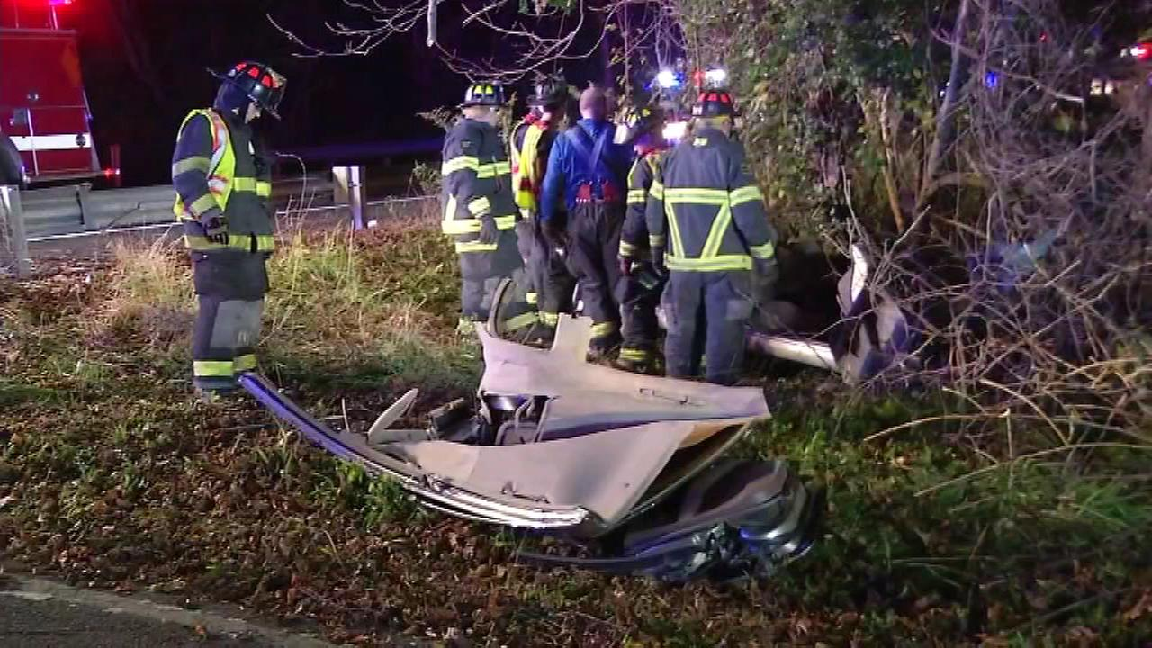 October 29, 2016 - A woman is in critical condition after her car swerved off the road, and slammed into several trees in Newark, Delaware.