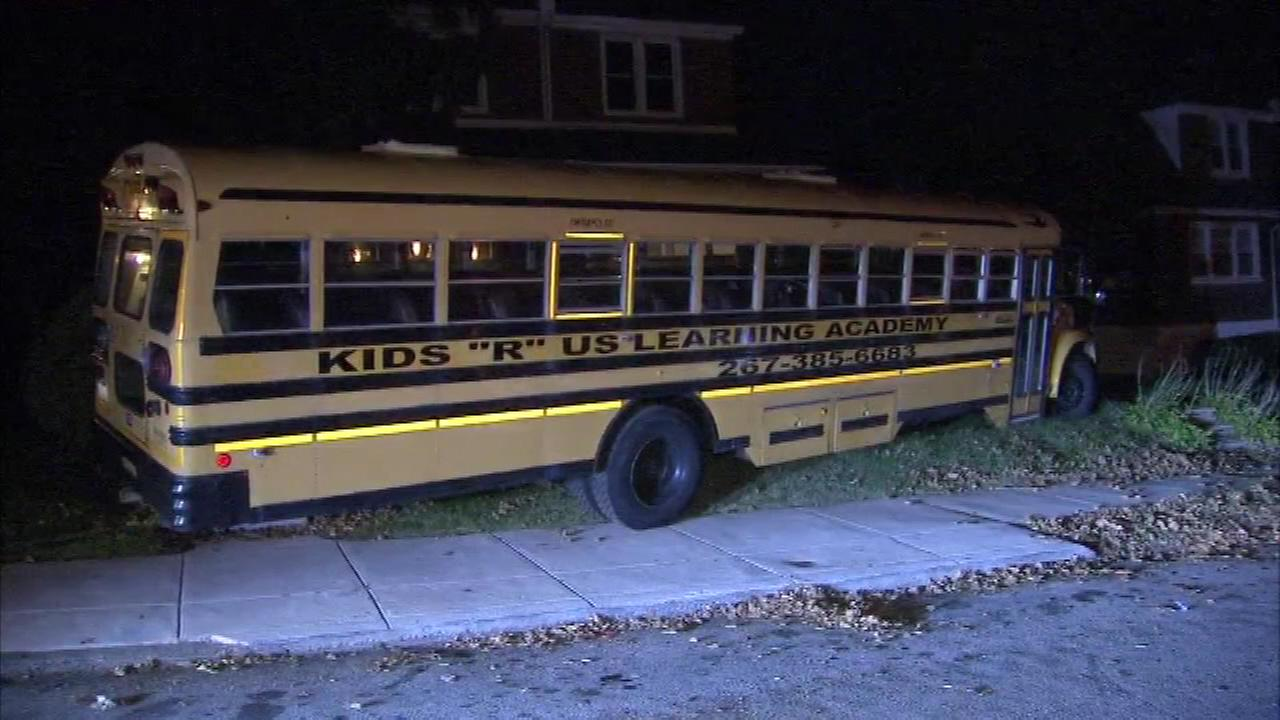 November 1, 2016 - A Philadelphia woman is trying to figure out how a full size school bus ended up on her front lawn.