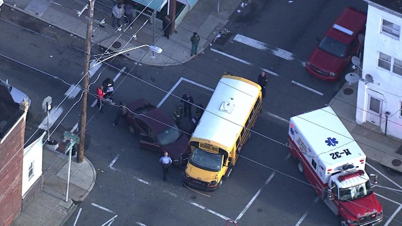November 1, 2016 - Officials are investigating an accident involving a school bus and another vehicle Philadelphias Frankford neighborhood.