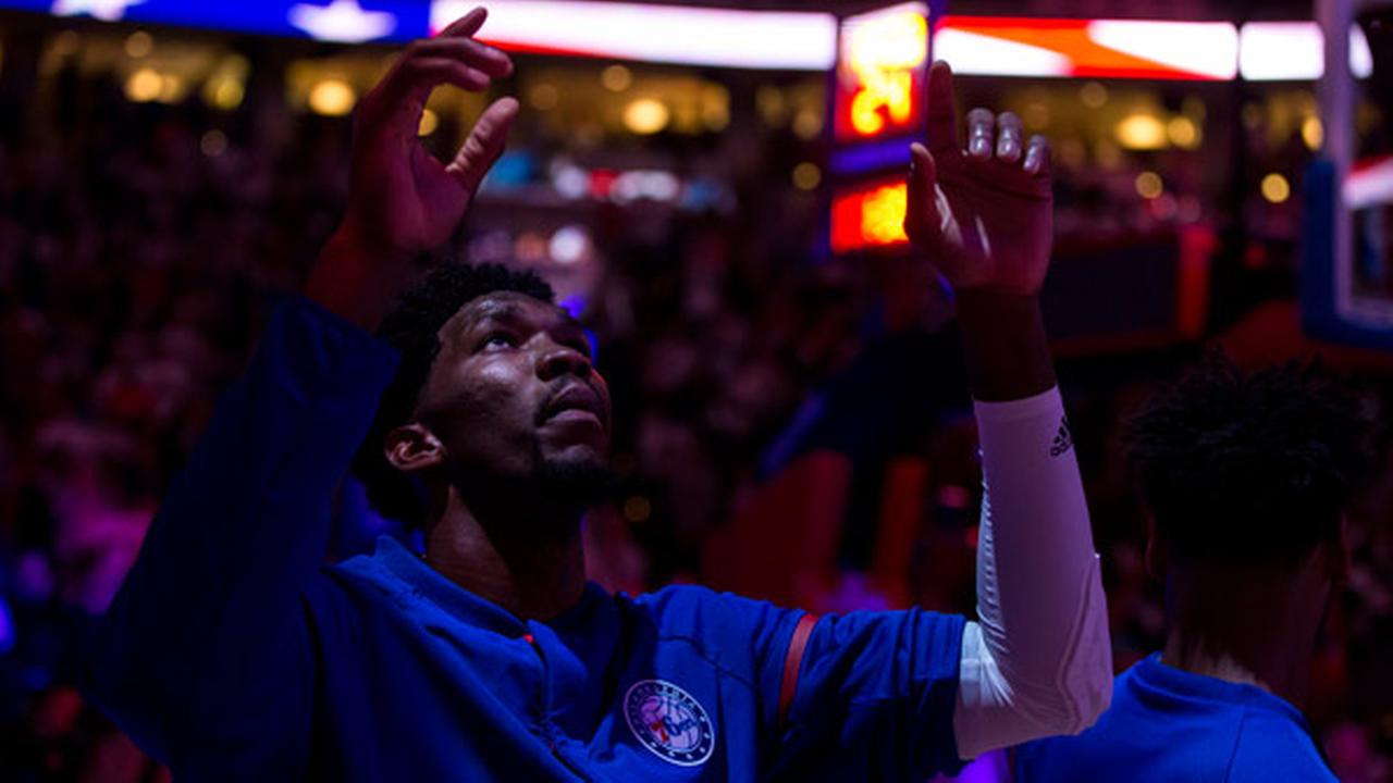 Philadelphia 76ers Joel Embiid reacts prior to an NBA basketball game against the Oklahoma City Thunder, Wednesday, Oct. 26, 2016, in Philadelphia.