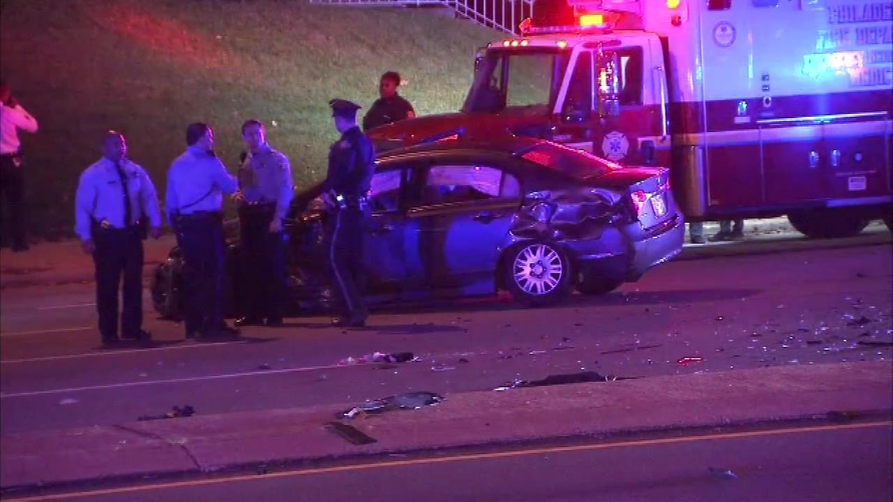 November 4, 2016 - Two cars collided in Philadelphias Wynnefield Heights section early Friday morning.