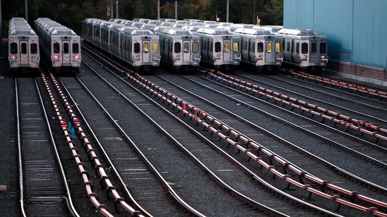 Market-Frankford line trains remain idle at a Southeastern Pennsylvania Transportation Authority (SEPTA) station Tuesday, Nov. 1, 2016 in Upper Darby, Pa.