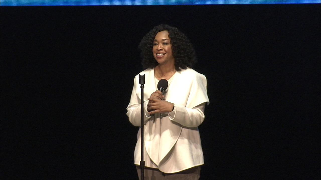 Television producer Shonda Rhimes appears on stage during a Get Out the Vote concert at the Mann Center.