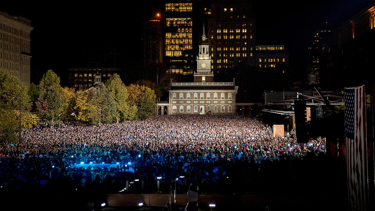 A large crowd gathers on Independence Mall before a rally for Democratic presidential candidate Hillary Clinton in Philadelphia, Monday, Nov. 7, 2016.