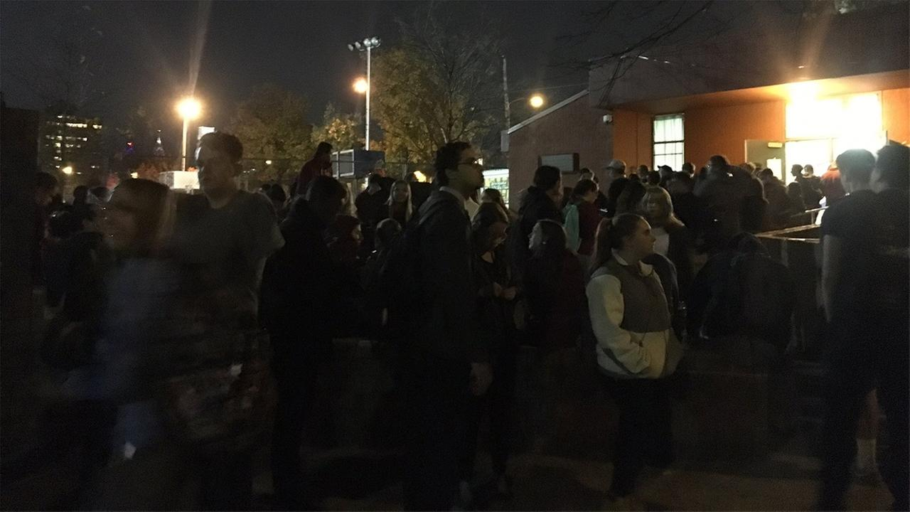 Temple University students waiting in line for almost four hours to cast ballot.
