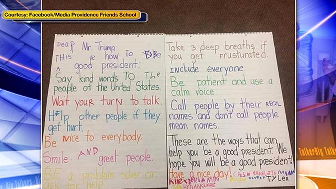 Kindergarten students offer Trump advice in adorable viral letter