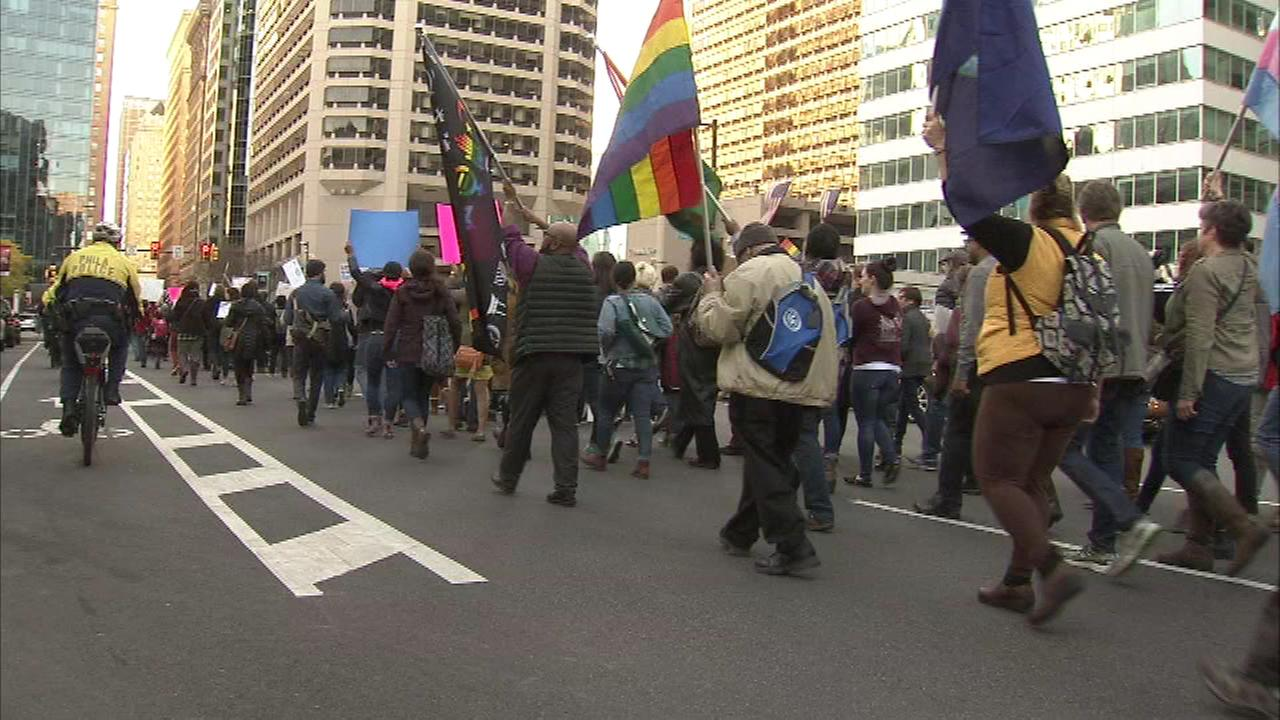 Images of the Anti-Trump protest in Center City Philadelphia.