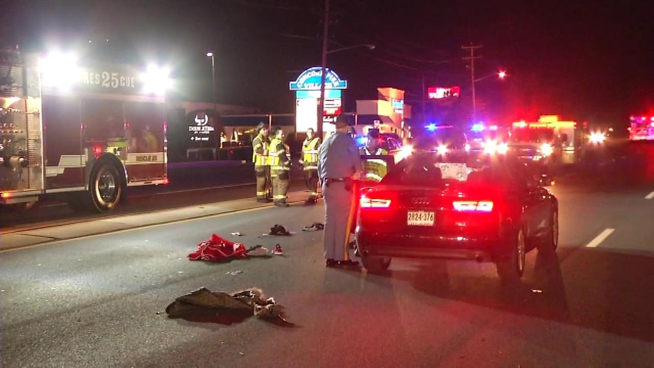 A New Castle County woman was hit by a car near the Concord Mall.