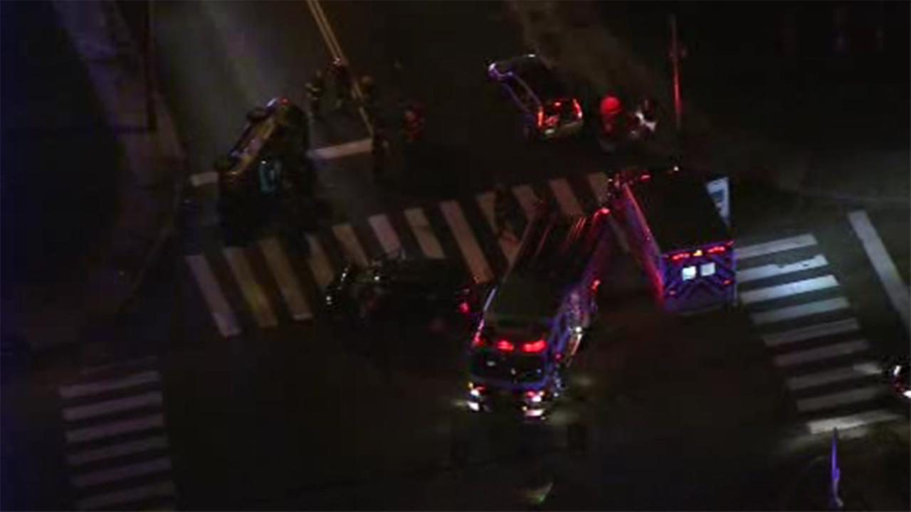 Philadelphia police are investigating a three-vehicle crash that left two people injured on the Roosevelt Boulevard in Bustleton.