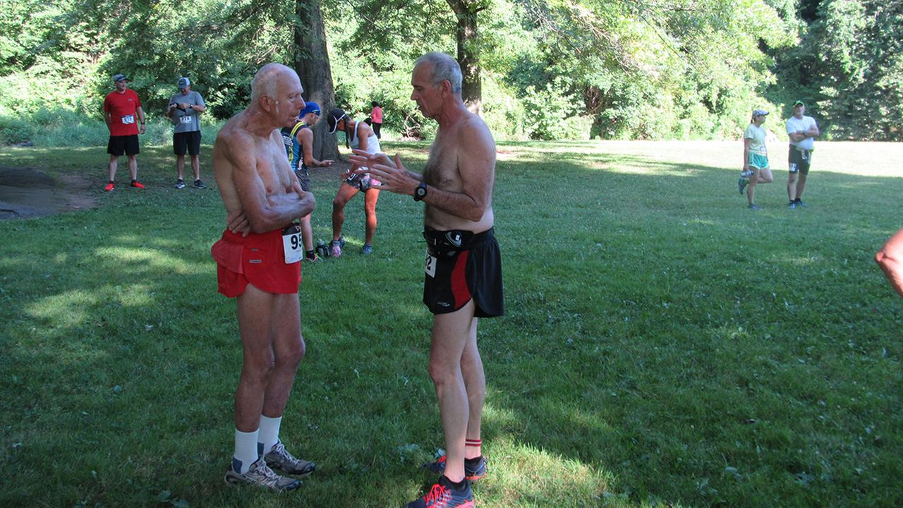 Pictured: Delaware Valley running icon John Schultz (red shorts)Pretzel City Sports